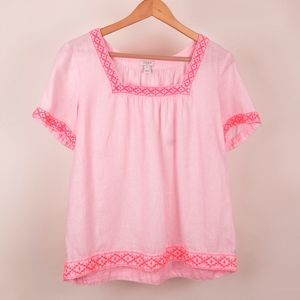 J.Crew Light Pink Linen Embroidered Peasant Top